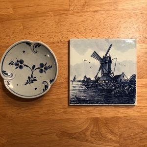 Delft Hand-Painted Tile & Trinket Dish (Holland)